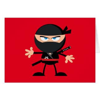Cartoon Ninja Warrior Red Thank You Card