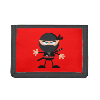 Cartoon Ninja Warrior Red Tri-fold Wallet