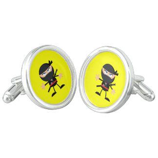 Cartoon Ninja Warrior Yellow Cufflinks