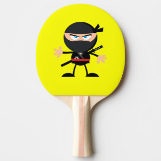 Cartoon Ninja Warrior Yellow Ping Pong Paddle