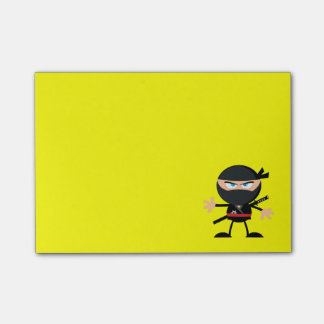 Cartoon Ninja Warrior Yellow Post-it® Notes