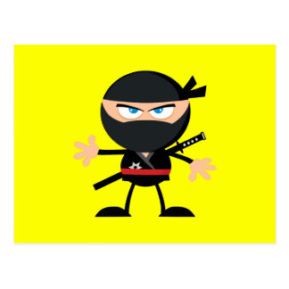 Cartoon Ninja Warrior Yellow Postcard