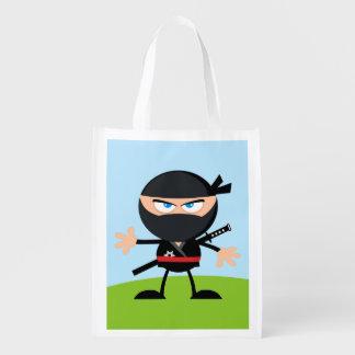 Cartoon Ninja Warrior Reusable Grocery Bags