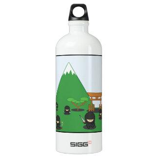 Cartoon Ninjas (in the countryside) Aluminum Water Bottle