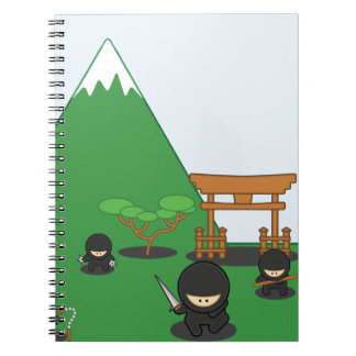 Cartoon Ninjas (in the countryside) Spiral Notebook