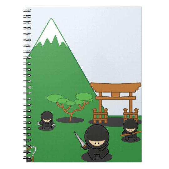 Cartoon Ninjas (in the countryside) Spiral Notebook