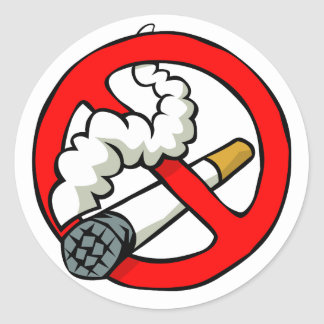 Cartoon No Smoking Sign Classic Round Sticker