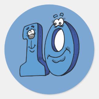 CARTOON NUMBER TEN 10 KIDS BLUES SMILING FACES FUN CLASSIC ROUND STICKER