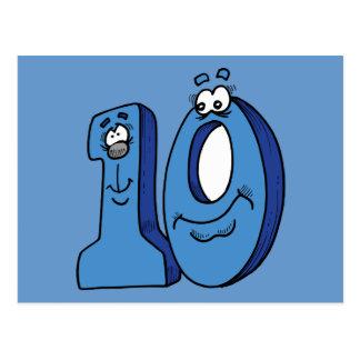 CARTOON NUMBER TEN 10 KIDS BLUES SMILING FACES FUN POSTCARD