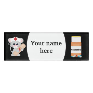Cartoon nurse add name tag
