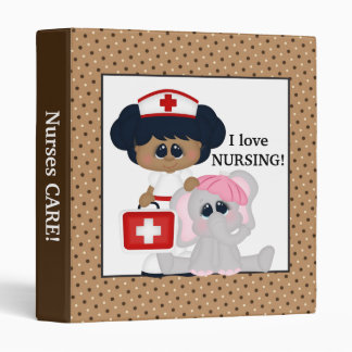 Cartoon Nurse and Elephant fun Binder
