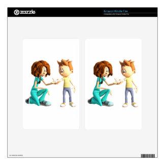 Cartoon Nurse and Little Boy Kindle Fire Skin
