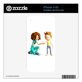 Cartoon Nurse and Little Boy Skins For The iPhone 4S