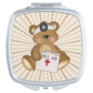 Cartoon Nurse Bear compact mirror