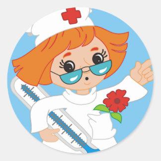 Cartoon Nurse Classic Round Sticker