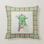Cartoon Nurse Frog fun throw Pillow