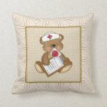 Cartoon Nurse Fun Bear Throw Pillow