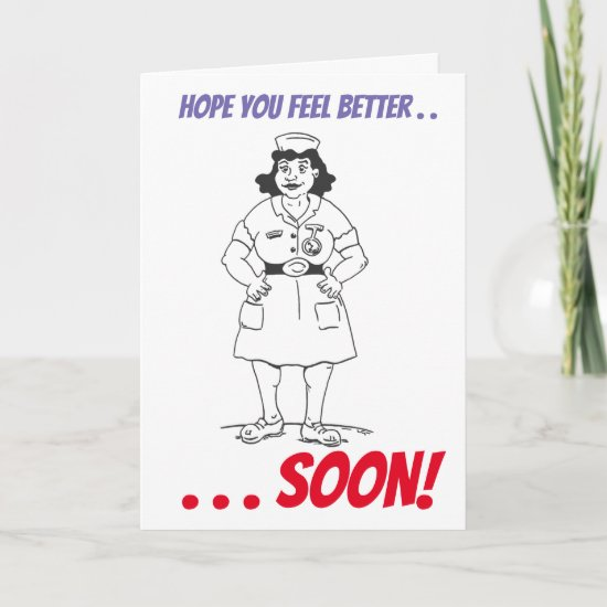 Cartoon Nurse Get Well Card