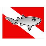 Cartoon Nurse Shark Dive Flag Postcards
