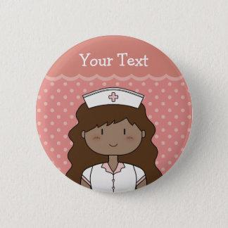 Cartoon nurse with dark wavy hair button