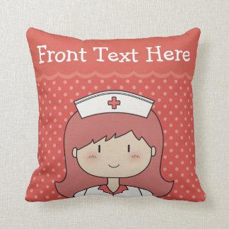 Cartoon Nurse with Red Hair and Custom Text Throw Pillow