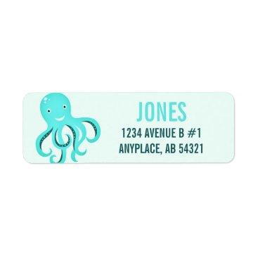 Beach Themed Cartoon Octopus Aqua Cute Fun Beach Aquatic Label