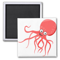 Cartoon octopus orange red sea magnet