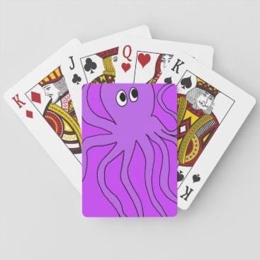 Beach Themed cartoon octopus playing cards