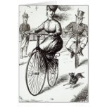 Cartoon of a Lady on a Velocipede, 1869 Cards