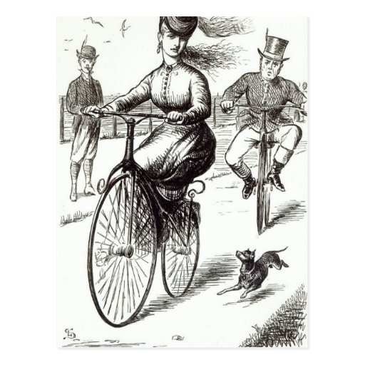 Cartoon of a Lady on a Velocipede, 1869 Post Card