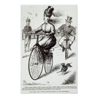Cartoon of a Lady on a Velocipede, 1869 Poster