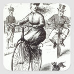 Cartoon of a Lady on a Velocipede, 1869 Square Sticker