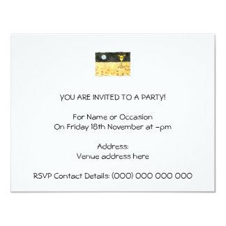 "Cartoon of a lost giraffe. 4.25"" x 5.5"" invitation card"