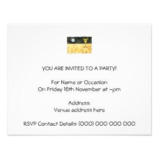 Cartoon of a lost giraffe. personalized invite