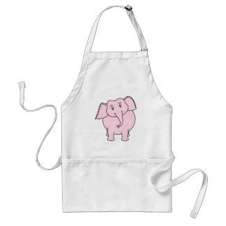Cartoon of a Pink Elephant Adult Apron