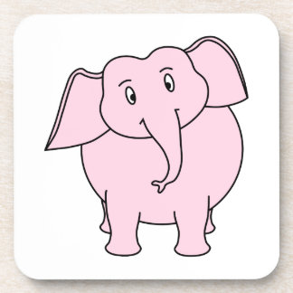 Cartoon of a Pink Elephant Beverage Coaster