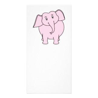 Cartoon of a Pink Elephant Photo Card