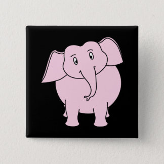 Cartoon of a Pink Elephant Pinback Button