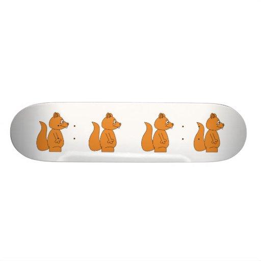 Cartoon of a Red Squirrel Skateboard