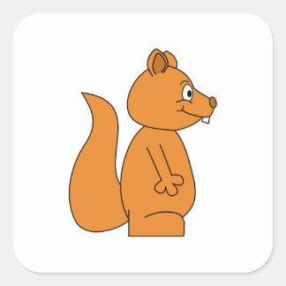 Cartoon of a Red Squirrel Square Sticker