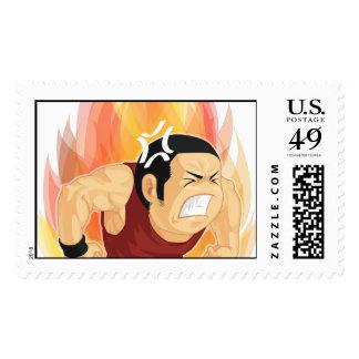 Cartoon of Angry Man Postage