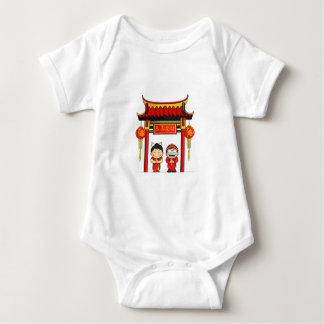 Cartoon of Boy & Girl Greeting Chinese New Year Baby Bodysuit