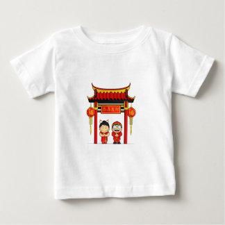 Cartoon of Boy & Girl Greeting Chinese New Year Baby T-Shirt