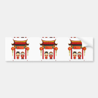 Cartoon of Boy & Girl Greeting Chinese New Year Bumper Sticker