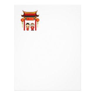 Cartoon of Boy Girl Greeting Chinese New Year Custom Flyer