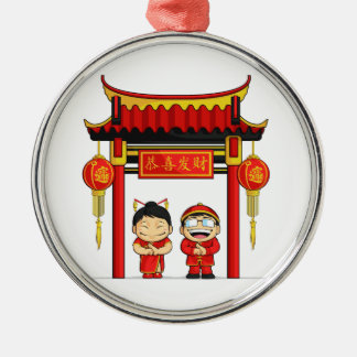 Cartoon of Boy & Girl Greeting Chinese New Year Round Metal Christmas Ornament