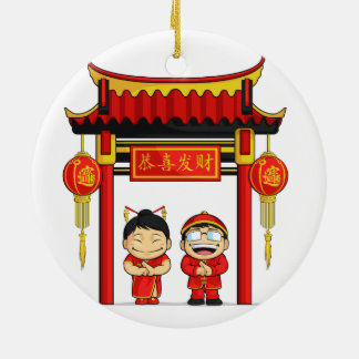 Cartoon of Boy & Girl Greeting Chinese New Year Double-Sided Ceramic Round Christmas Ornament