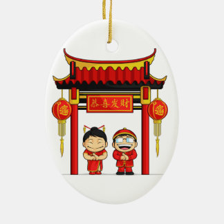 Cartoon of Boy & Girl Greeting Chinese New Year Double-Sided Oval Ceramic Christmas Ornament