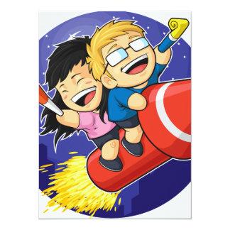 Cartoon of Boy & Girl Riding New Year Firework Card