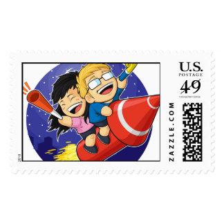 Cartoon of Boy & Girl Riding New Year Firework Postage
